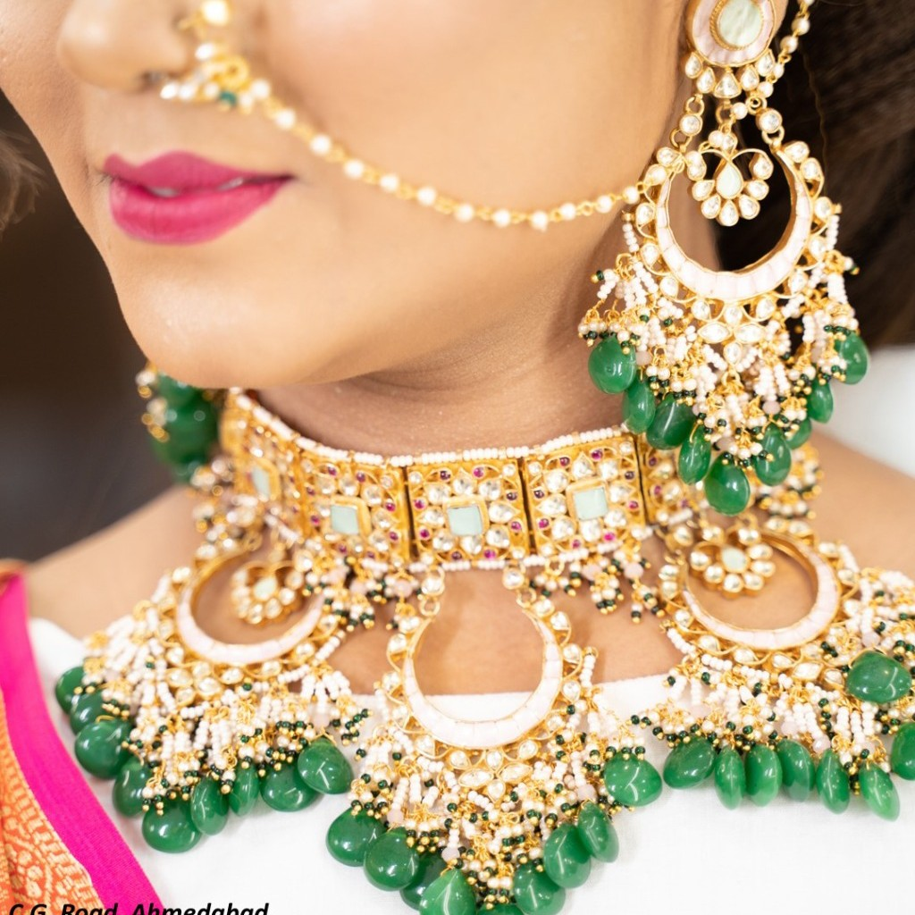 sabyasachi moon shaped turquoise blue and pink nackless