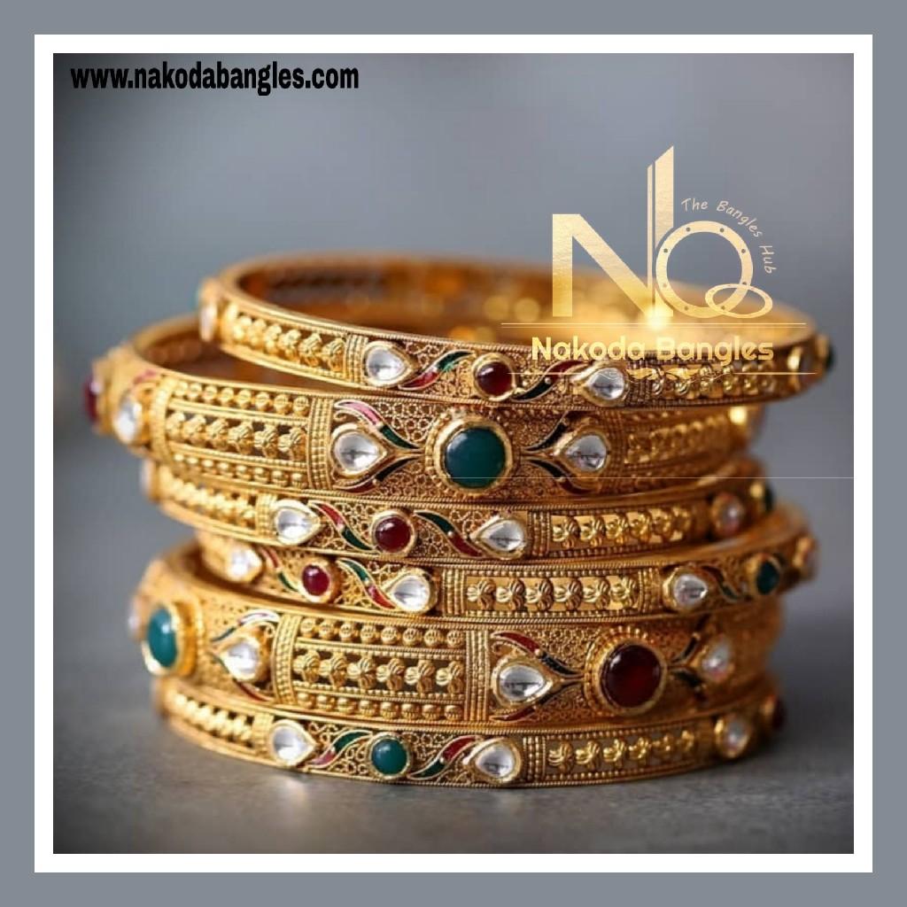 916 Gold Antique Bangles NB - 735