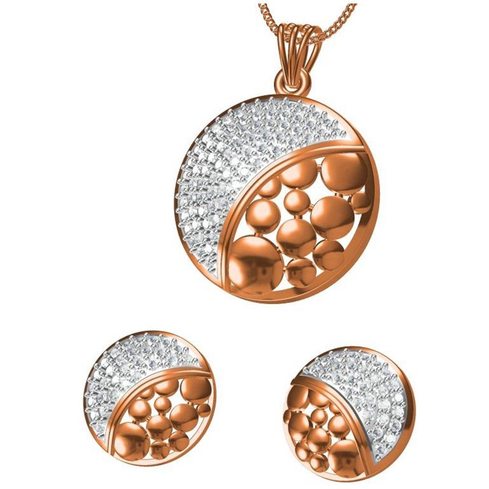 18kt cz rose gold pendant set