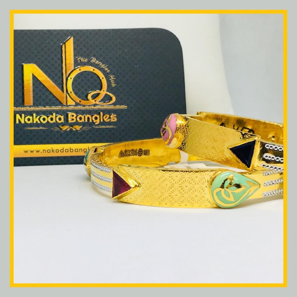 916 Gold Stone Fancy Bangles NB - 535