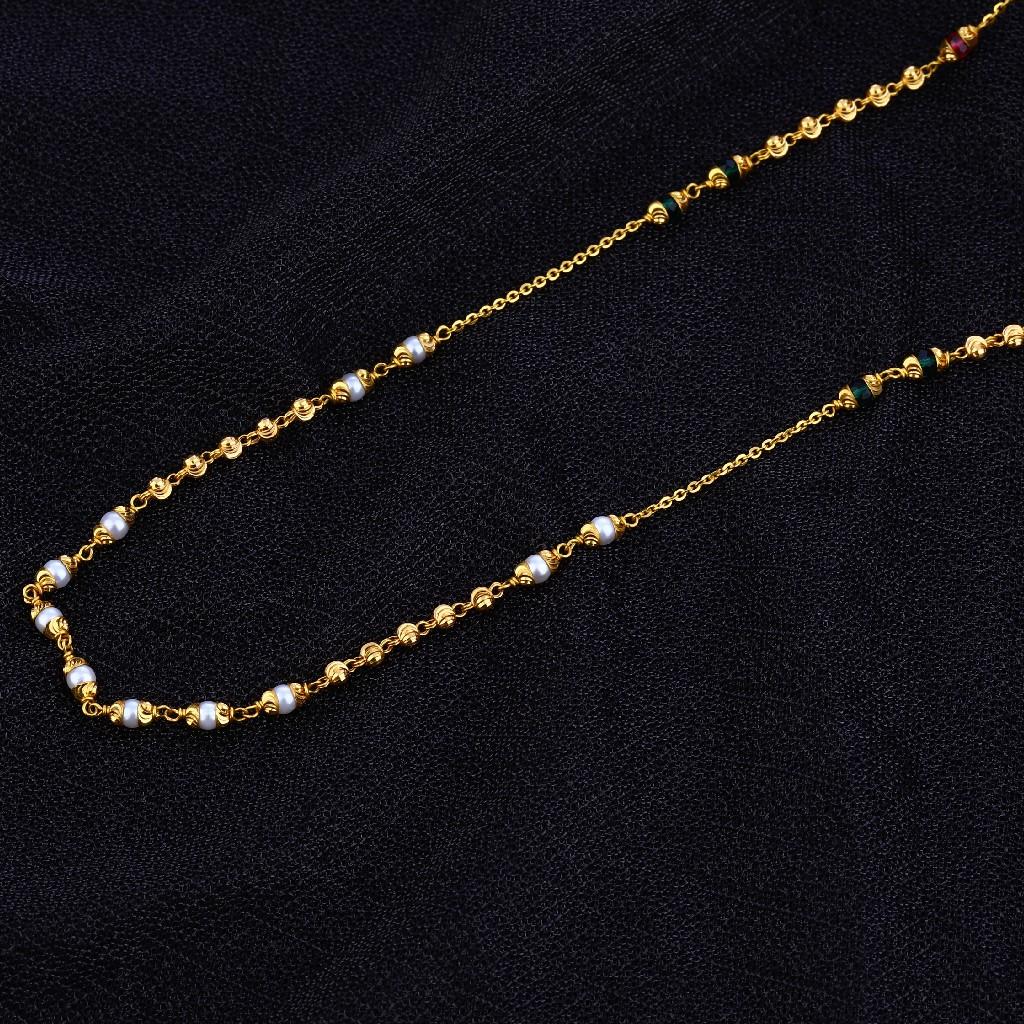 Ladies 916 Gold Cz Moti Mala-AC130