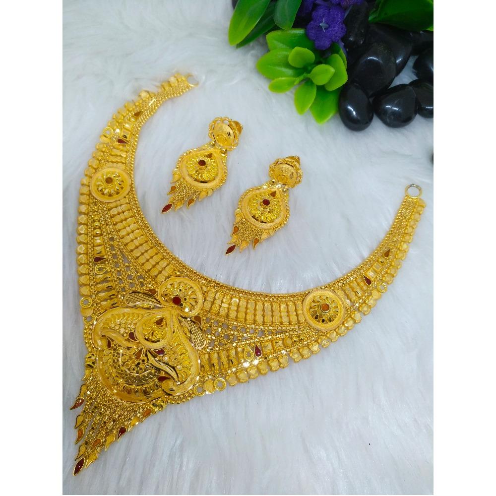 22K Gold Fancy Short Necklace Set PO-N008