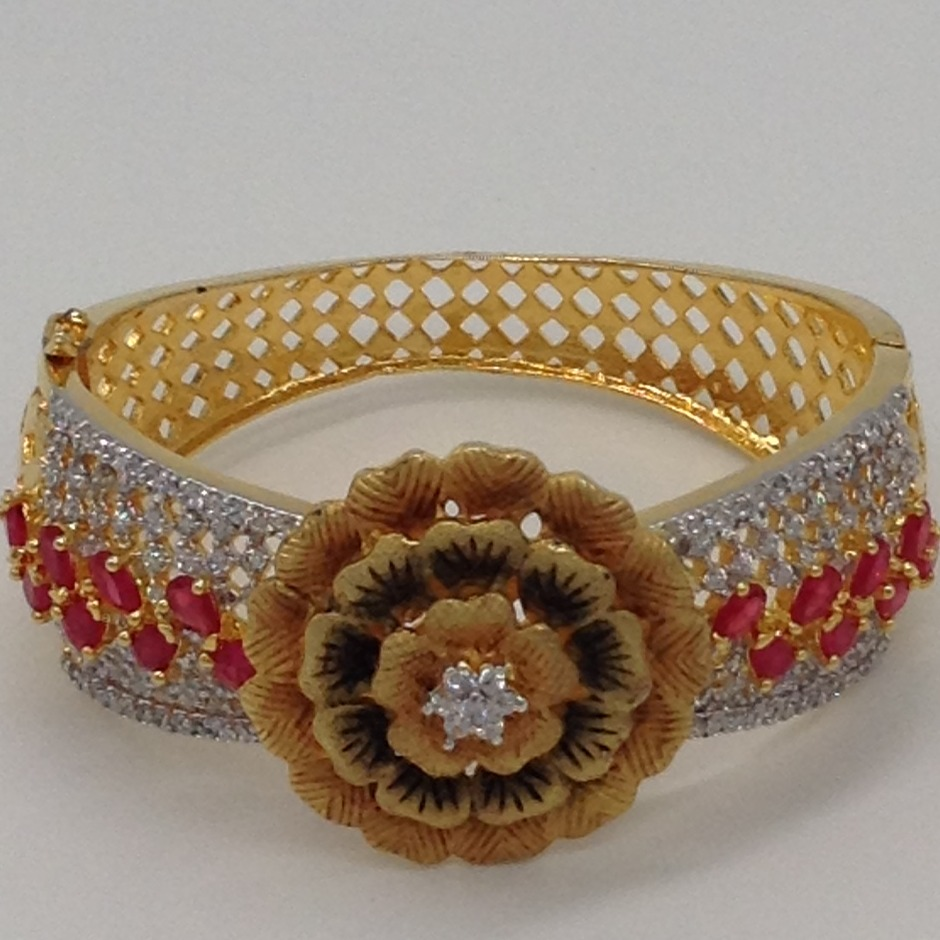 White And Red CZ Flower Openable Kada Bracelet JBG0034