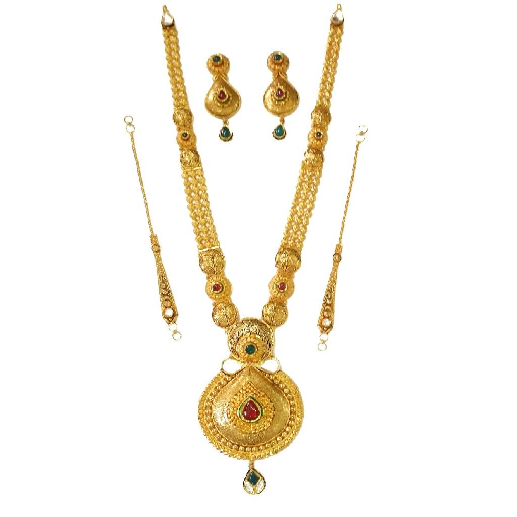 22k Gold Antique Rajwadi Necklace Set MGA - GLS051