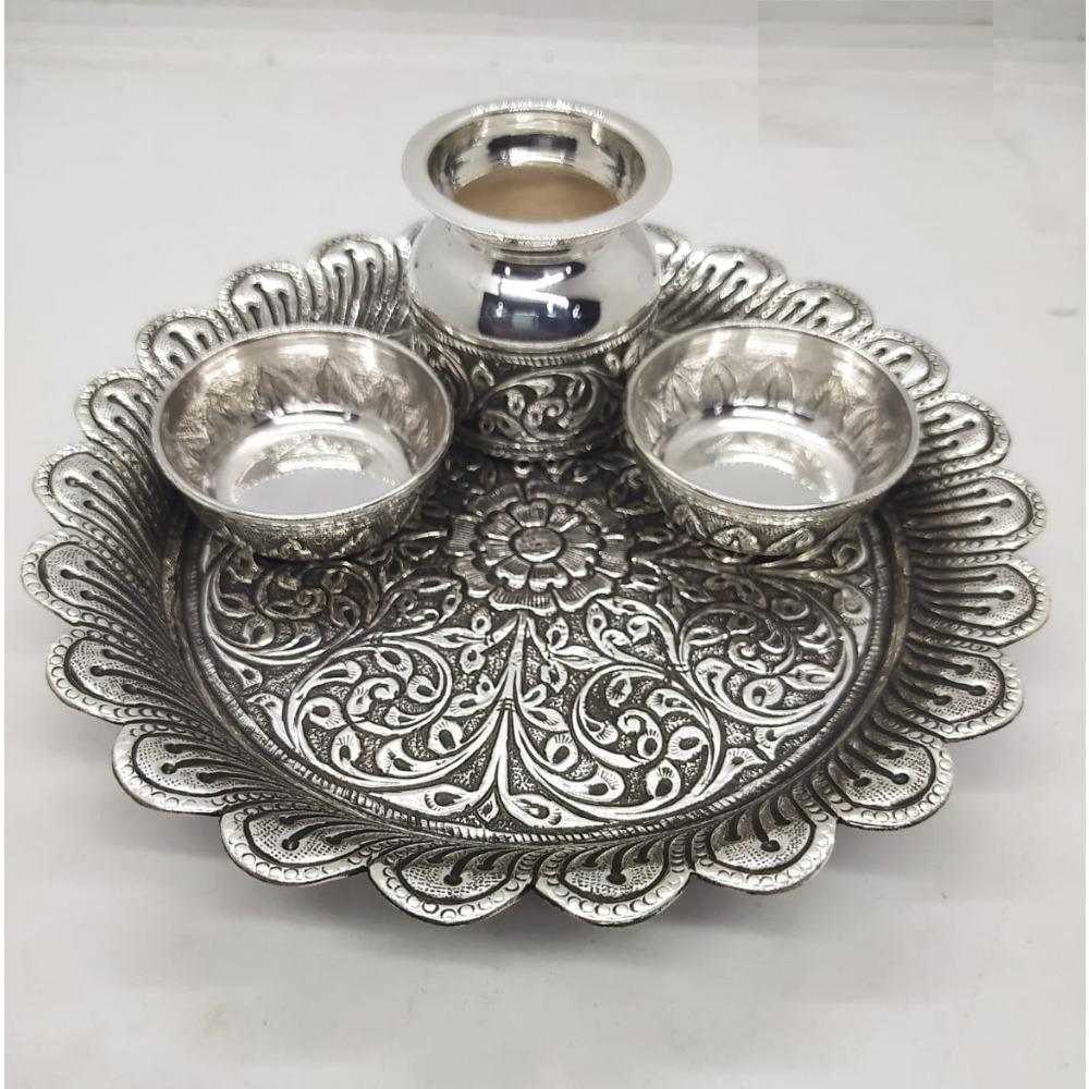 floral base pure silver antique pooja thali set by puran