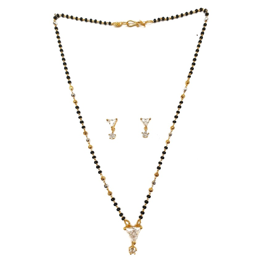 1 gram gold forming triangle shaped solitaire diamond mangalsutra mga - mse0136