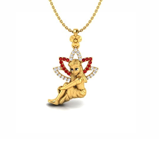 22KT Gold CZ Angel and Shooting Star Charm Pendant Chain SO-P010