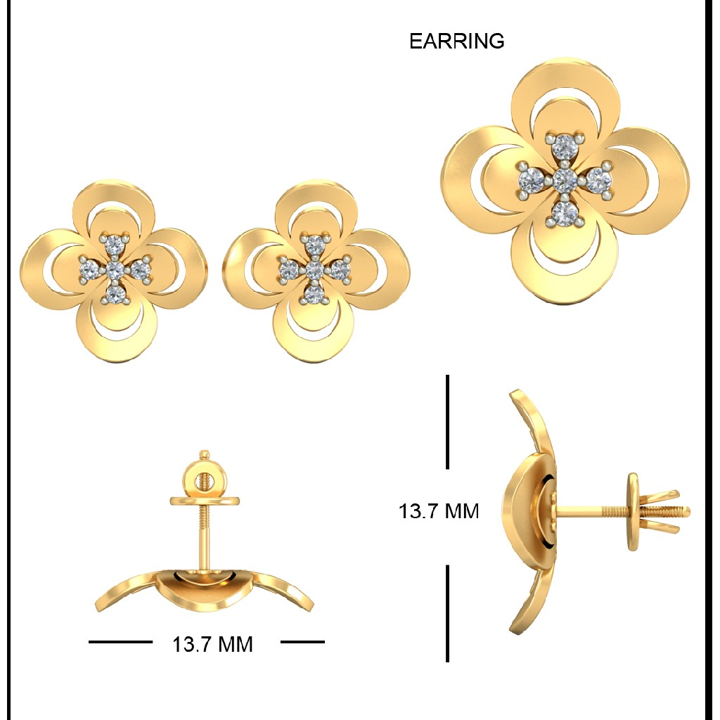 22Kt Yellow Gold Ganika Earrings For Women