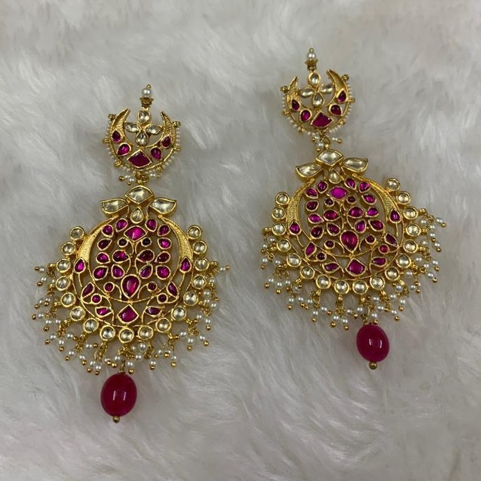 attractive Pink Stone Imitation Earrings