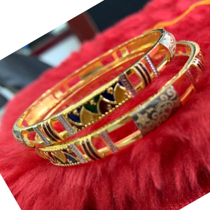 22KT/ 916 Gold Colorful mina Festival copper Kadli For Ladies