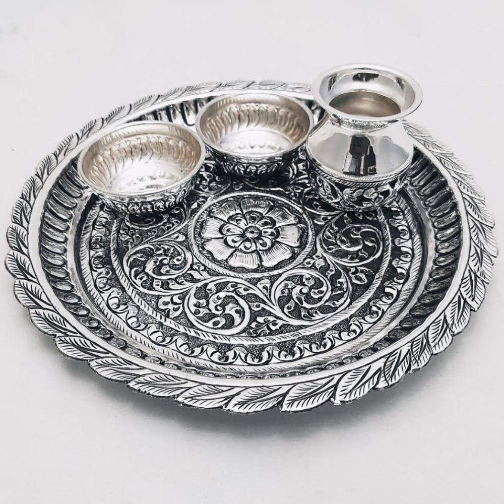 925 Pure Silver Antique Pooja Thali Set PO-263-26