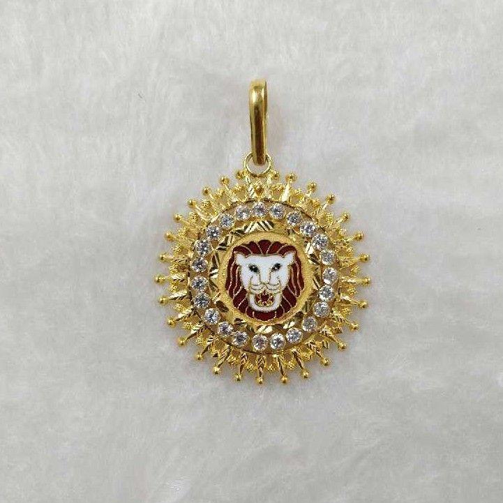 916 Gold Tiger Design Round Pendant