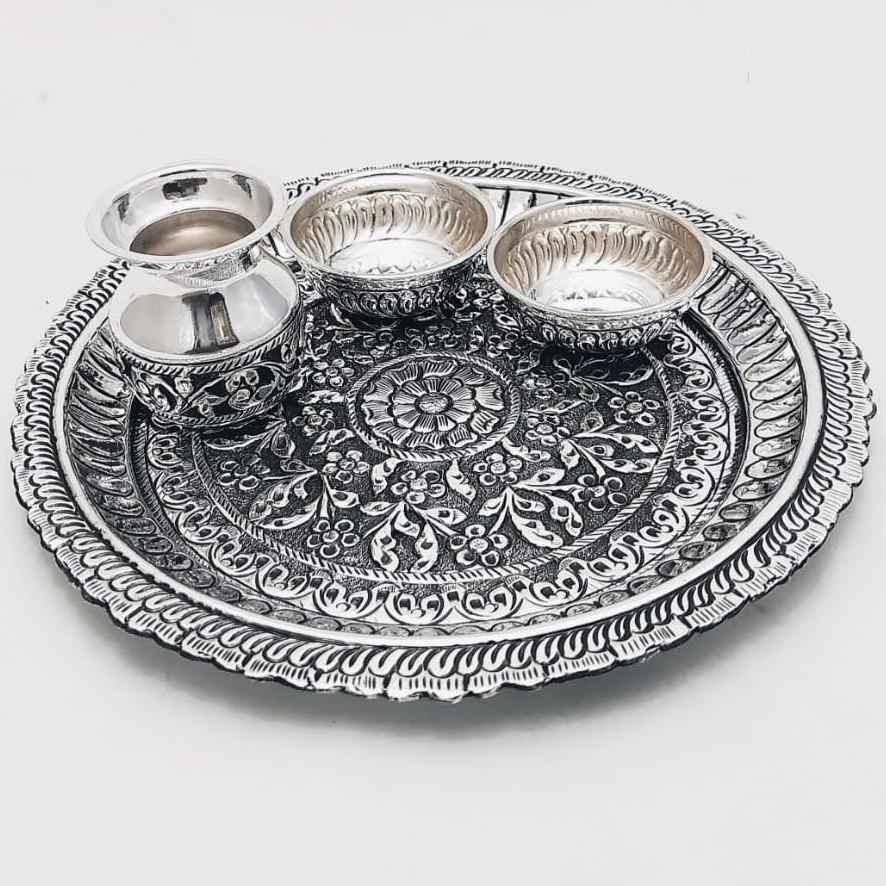 925 Pure Silver Antique Pooja Thali Set PO-263-22