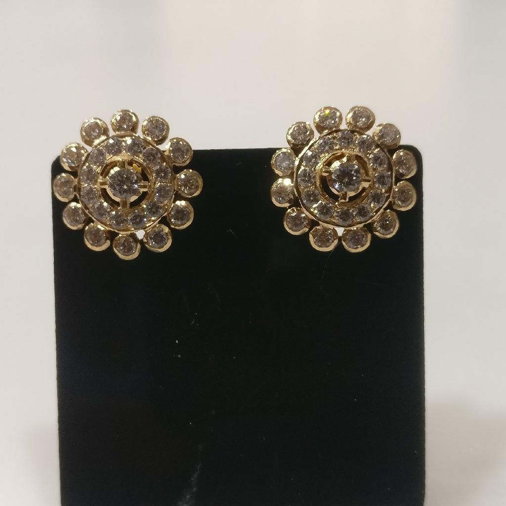22kt gold cz close setting earrings