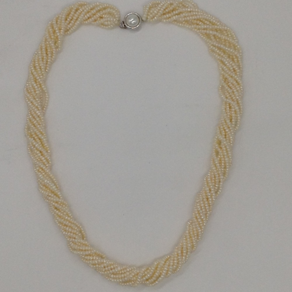 Freshwater White SeedPearls 10Layers Twisted NecklaceJPM0325