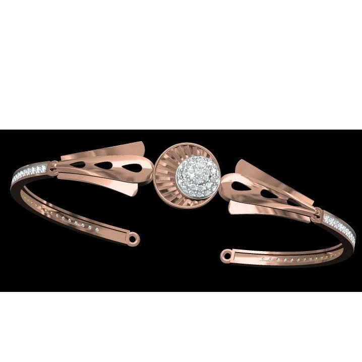 18kt cz rose gold diamond ladies kada.