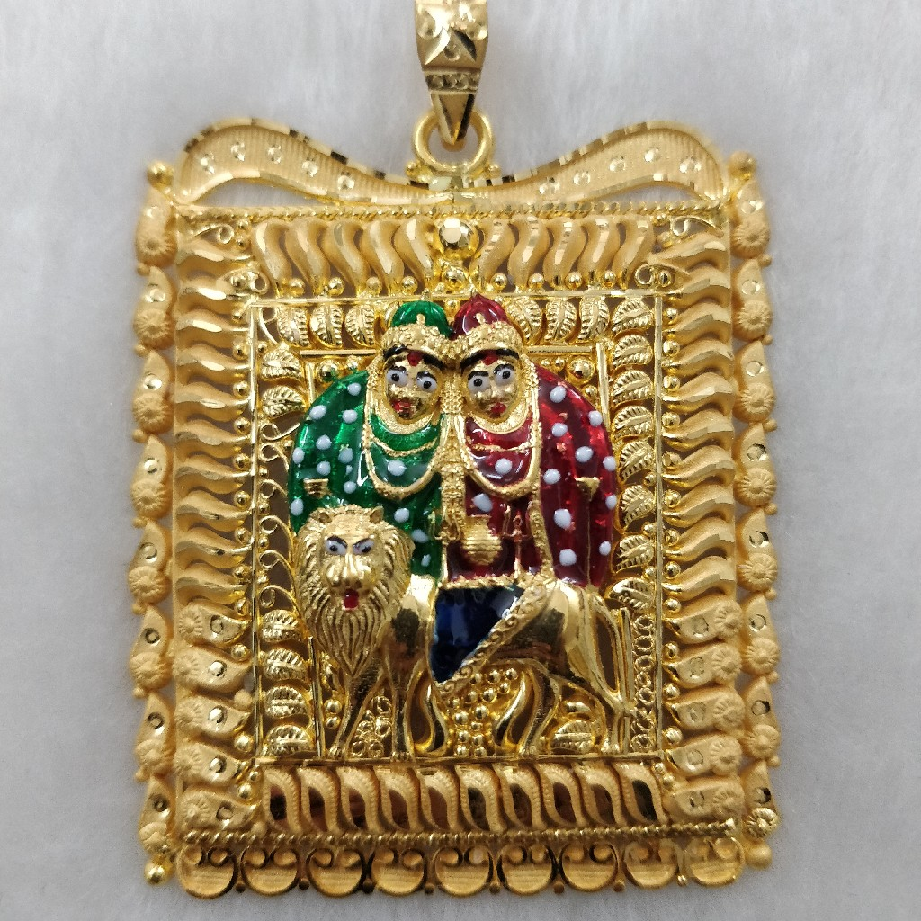 916 gold fancy gent's chamunda maa pendant