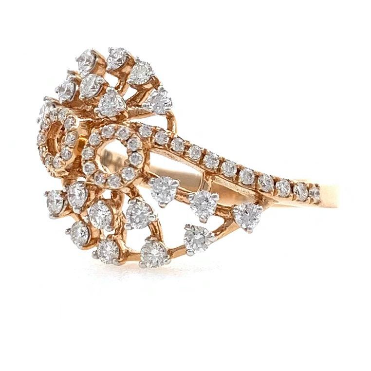 18kt / 750 rose gold fancy work wear diamond ladies ring 9lr14