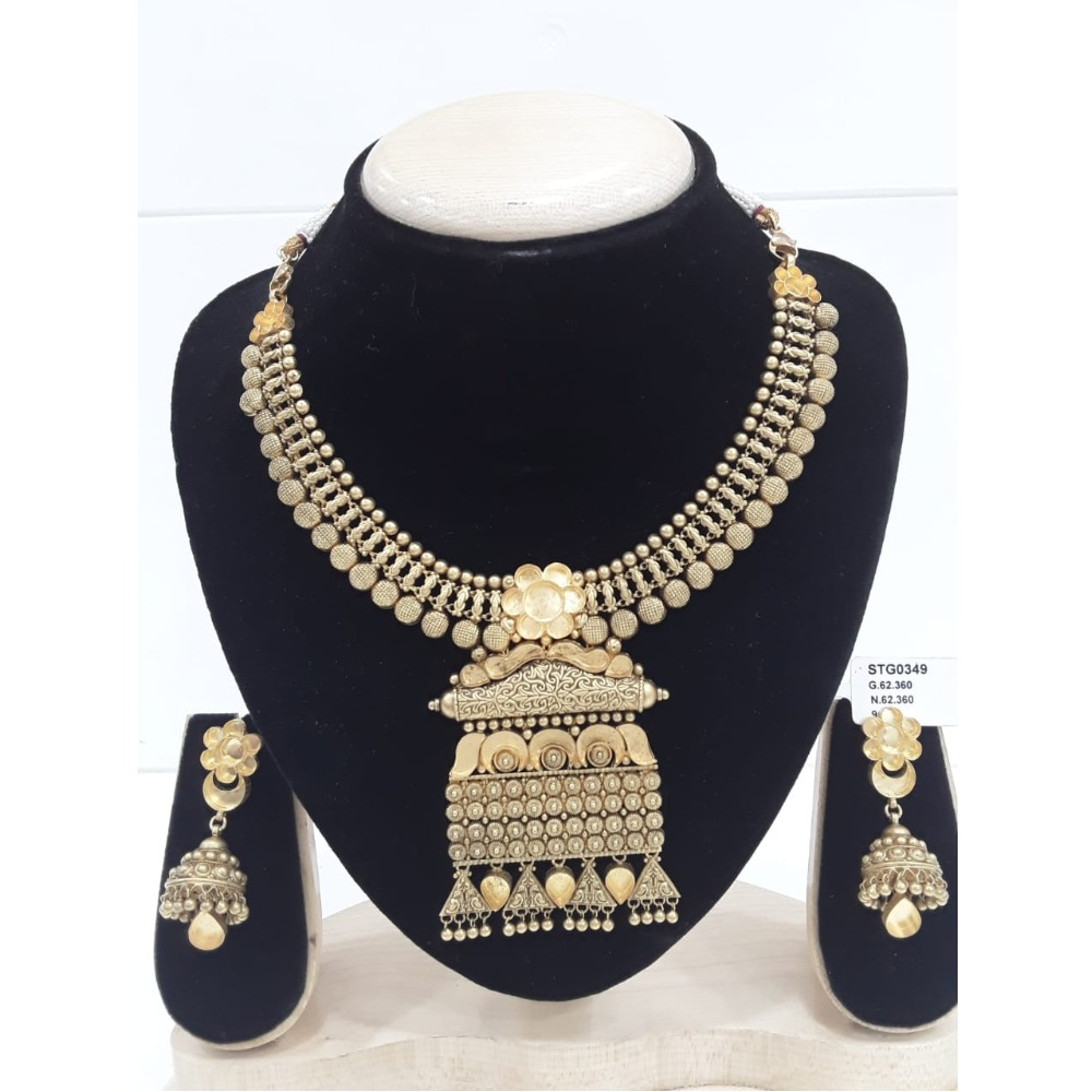 916 Gold Jadtar Khokha Necklace Set VJ-N002