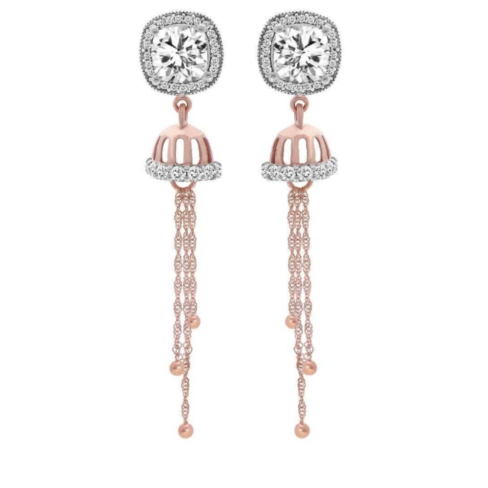 18k rose gold cz diamond earring pj-e007