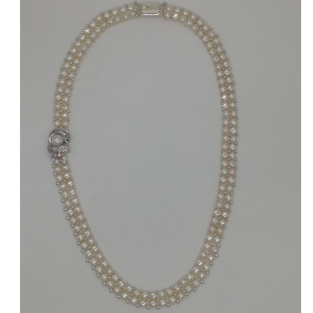 White cz and pearls broachset with 2line buttonjali pearls mala jps0226