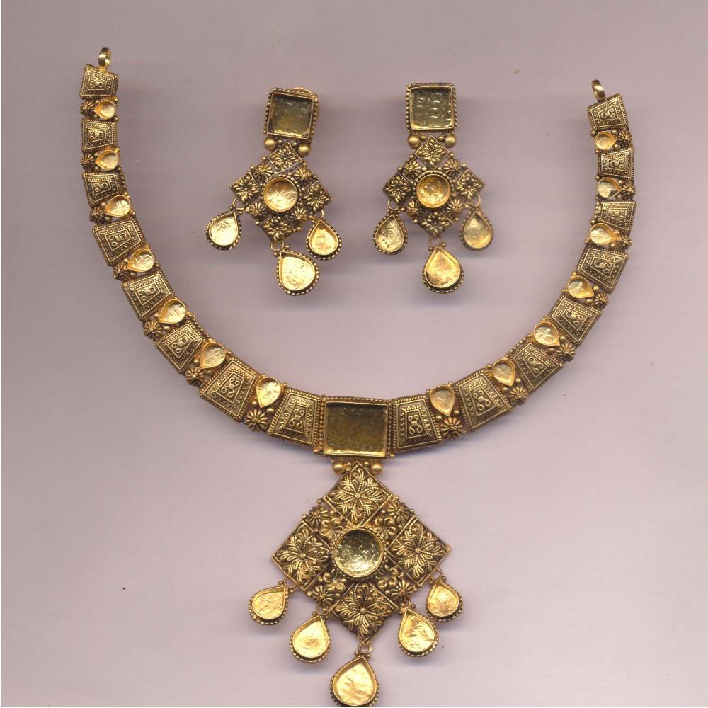 916 Gold Antique Jadtar Khokha Necklace Set PJ-N007