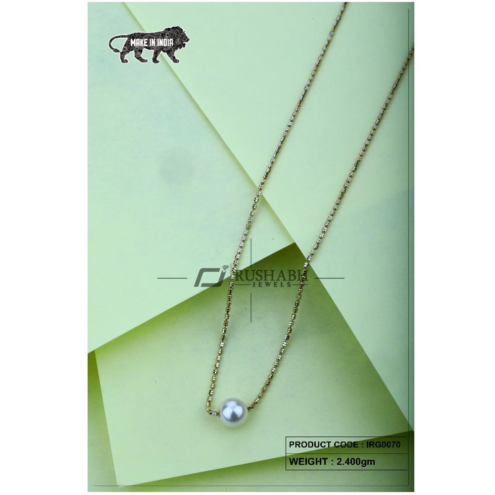 18 Carat Gold Ladies Italian Fancy Chains Pearl IRG0070