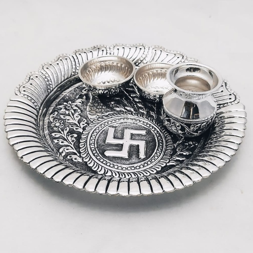 925 Pure Silver Antique Pooja Thali Set PO-263-20