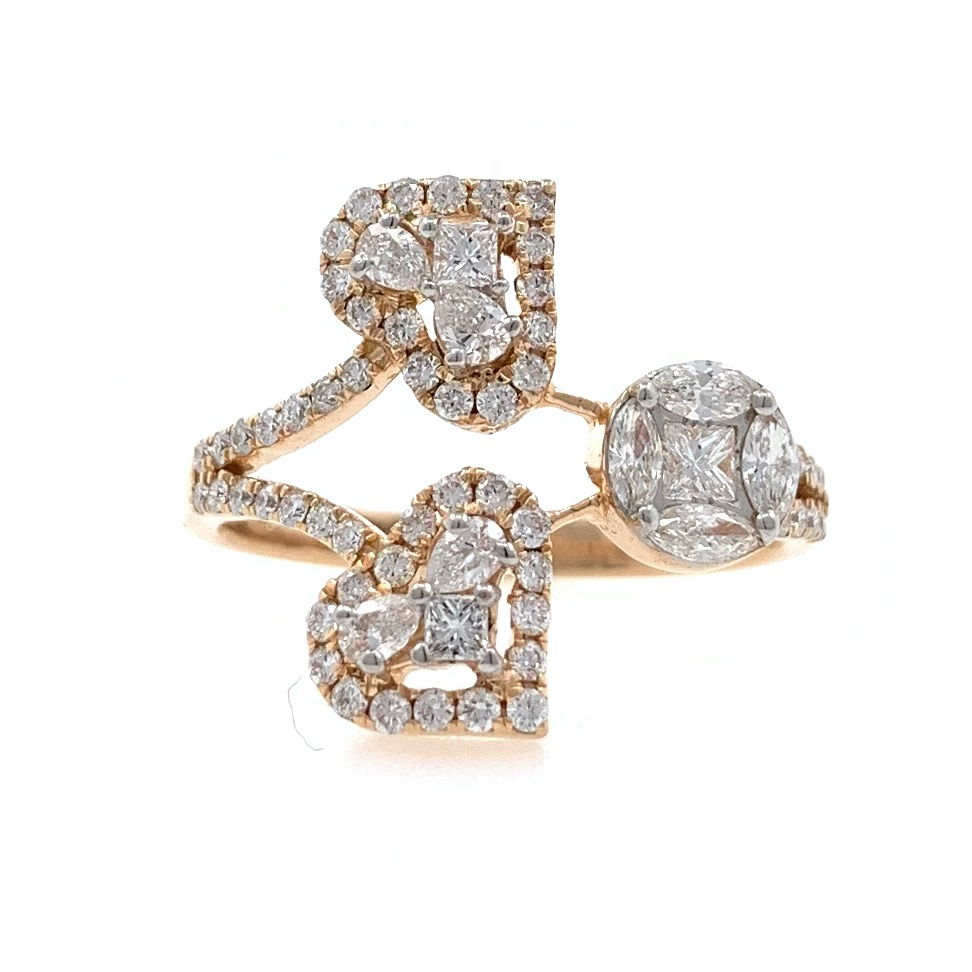 18kt / 750 rose gold fancy diamond ladies ring 9lr331