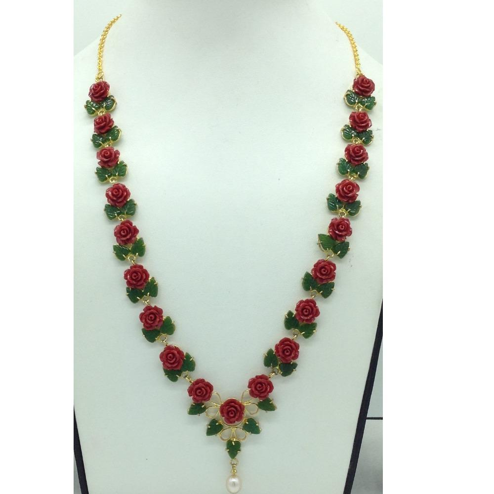Coral Flower andJade Leaves Necklace Set JNC0136