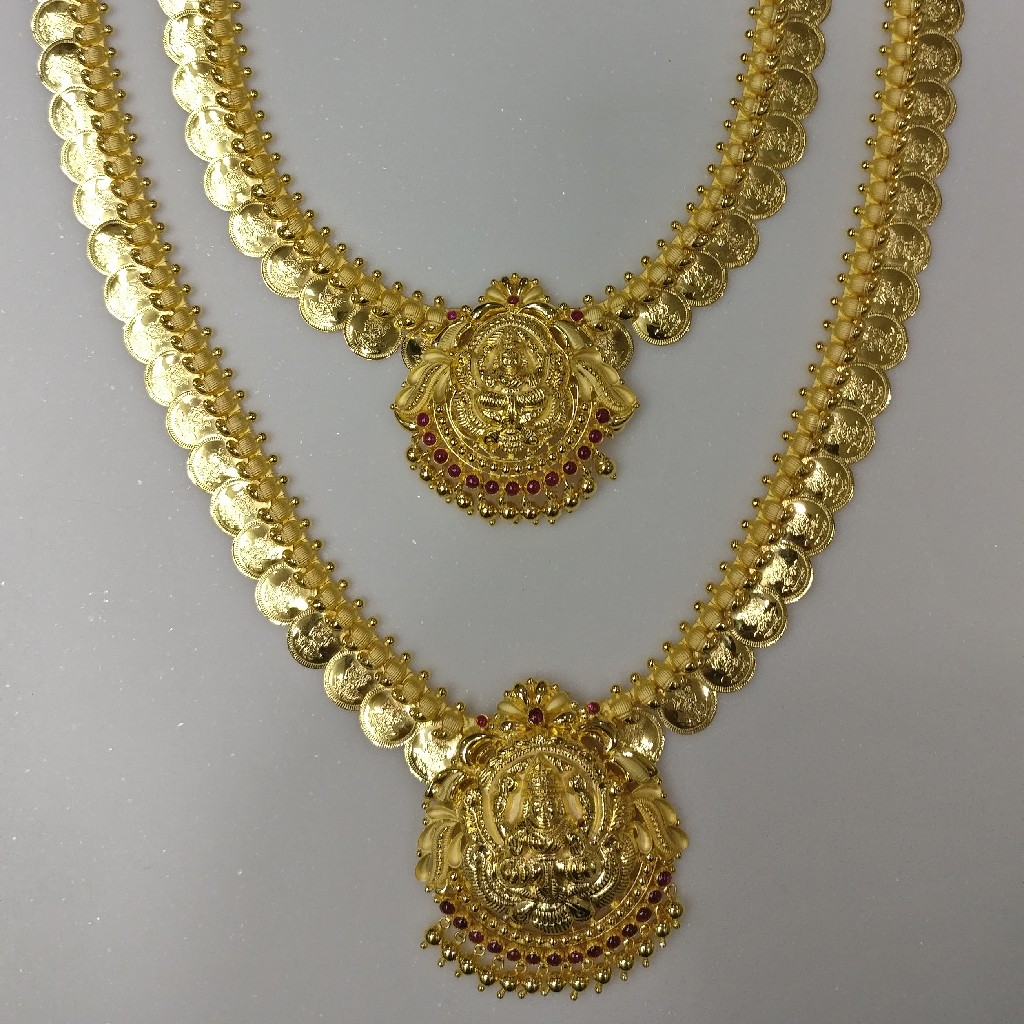 22kt handmade south indian traditional kasu malai with laxmi pendant