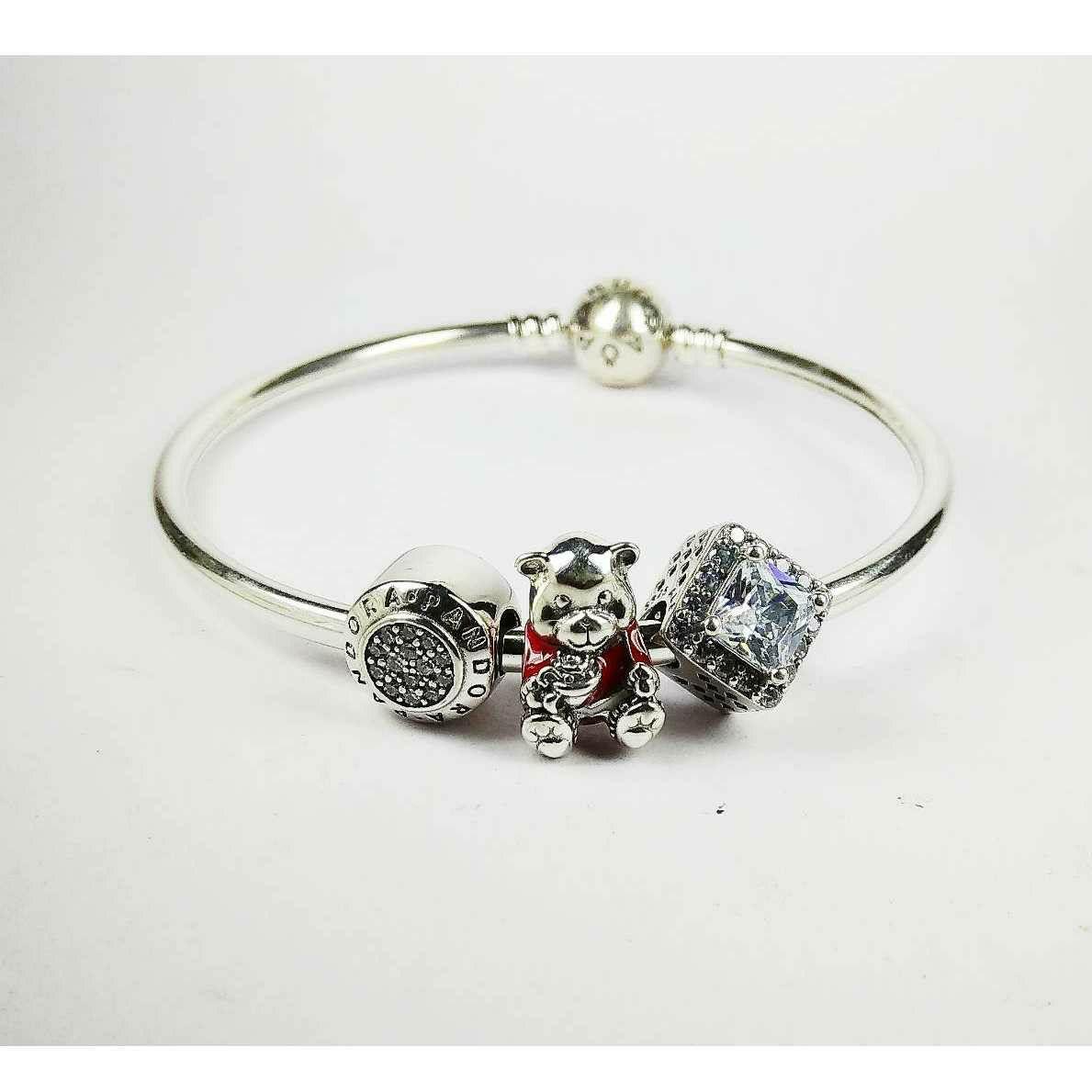 Fancy 925 Silver Ladies Pandora Kada Bracelet With Panda
