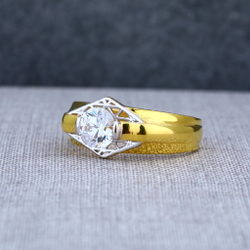 22Ct Mens Fancy Solitaire Gold Ring-MSR19