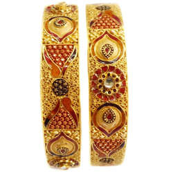 22k Gold Red Heart Shape Meenakari Flower Kada Bangles MGA - GP044