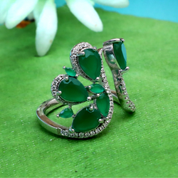 925 Silver Green Stone Ladies Ring PJ-R039