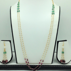 Round Pearlswith Ruby, Emeralds Gold Taar Necklace Set JGT0026