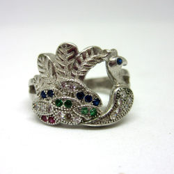 925 silver peacock multi diamond ring sr925-165