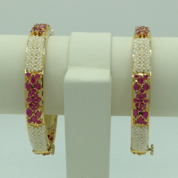 Freshwater White Khakha Seed Pearls and Ruby Jali Bangles JBG0263