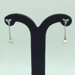 Pearl CZ Silver Ear Hangings JER0164