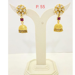 gold plated Ruby stone kundan Jhumka Earring with Hanging moti 1686