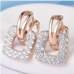 18k rose gold square design Earring sk-e01