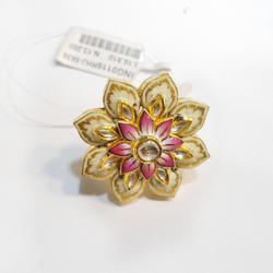 916 Gold Lotus Design Meenakari Pendant Set RHJ-5636