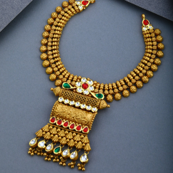 916 Gold Antique Kundan Necklce Set
