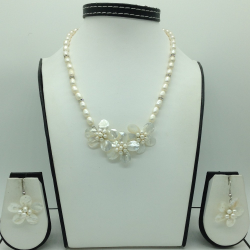 Freshwater White Oval Pearls And MOP Flowers Necklace Set JPP1061
