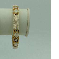 Freshwater White Khakha SeedPearlsJali Single Bangles JBG0276