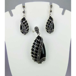 Exclusive marcasite 92.5 silver Pendant Set MG-P011