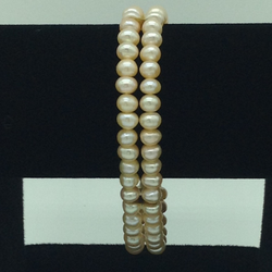 Orange Flat Pearls 2 Layers Bracelet JBG0108