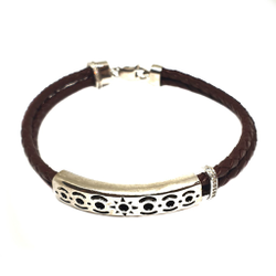 925 Sterling Silver Leather Belt Bracelet MGA - BRS1637