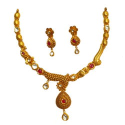 22K Gold Antique Flower Shaped Half Necklace Set MGA - GN0091