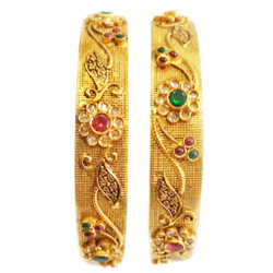22k Gold Antique Checkers Diamond Flower Shape Kada Bangles MGA - GP055